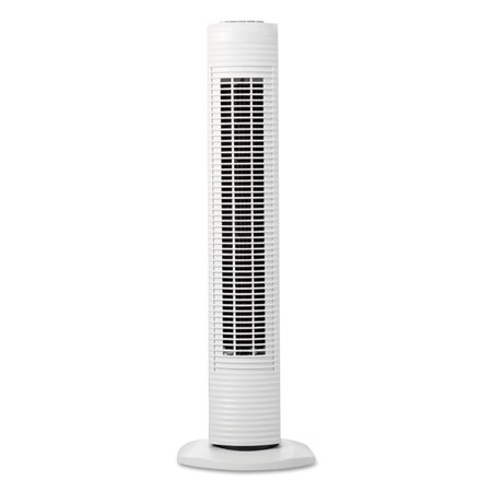 Compact Floor Fan - Holmes Oscillating Tower Fan, Three-Speed, White, 5 9/10