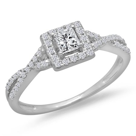 Dazzlingrock Collection 0.50 Carat (ctw) 14K Princess & Round Diamond Swirl Halo Engagement Ring 1/2 CT, White Gold, Size 9