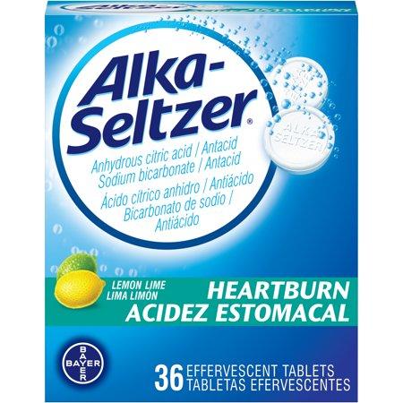 Alka-Seltzer Heartburn Lemon Lime Antacid Effervescent Tablets Bilingual 36 Count Alka Seltzer Antacid Medicine