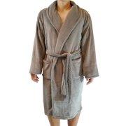 FASCIINO Men's Full Length Shawl Collar Microfiber Fleece Bathrobe Spa Robe