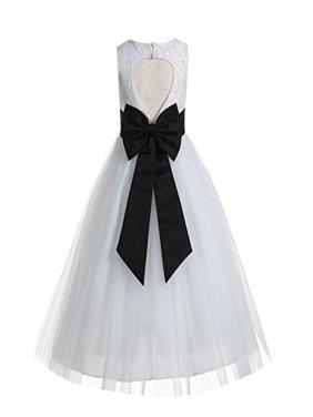EkidsBridal Floral Lace Heart Cutout Ivory Flower Girl Dresses Holy Communion Dresses Baptism Dress 172T