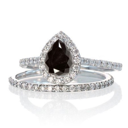2 Carat Pear Cut Black and White Diamond Halo Bridal Wedding Engagement Ring Set for Woman in 10k White Gold