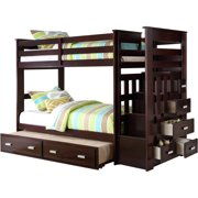 ACME Allentown Twin Over Twin Wood Bunk Bed with Storage, Espresso