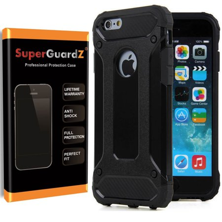 6s6 Led (For iPhone 6S / iPhone 6 Case, SuperGuardZ Slim Heavy-Duty Shockproof Protection Cover Armor [Black] + LED Stylus)