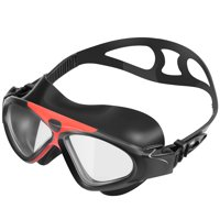 Ipow Seal Swim Mask Anti-Fog Watertight Large Clear Lens Waterproof Eyes Protection Adult Swimming Goggles,Black
