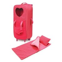 """Badger Basket Double Trolley Doll Carrier with Plush Friend Harness, Sleeping Bag, and Pillow - Pink/Star - Fits American Girl, My Life As & Most 18"""" Dolls"""