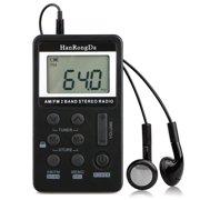 Mini Digital Portable Pocket Handy LCD AM FM Radio 2 Band Stereo Receiver with Sleep Timer, Preset, Alarm Clock and Earphone