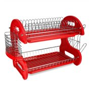 2-Tier Dish Drainer Red