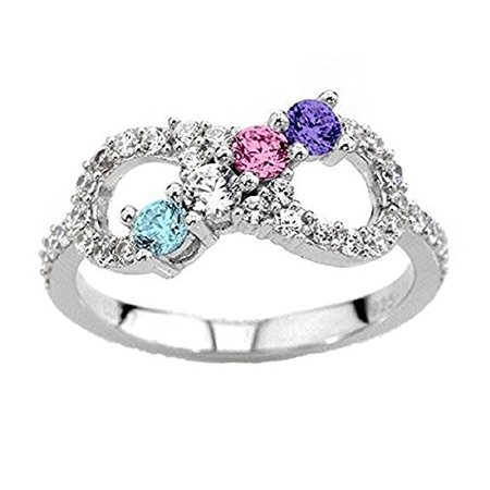NANA Silver Infinity Mothers Ring with 1 to 6 Simulated Birthstones - Silver - Size 10