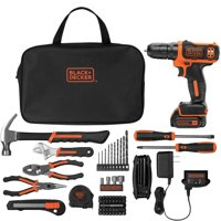 BLACK+DECKER 12-Volt MAX* Lithium-Ion Cordless Drill With 64-Piece Project Kit, BDCD11264PKWM