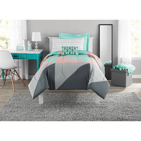 Mainstays Gray Amp Teal Bed In A Bag Bedding Walmart Com