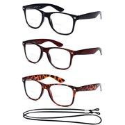 000d005351 3 Pack Bifocal Vintage Style Comfortable Stylish Simple Reading Glasses  With Lanyard