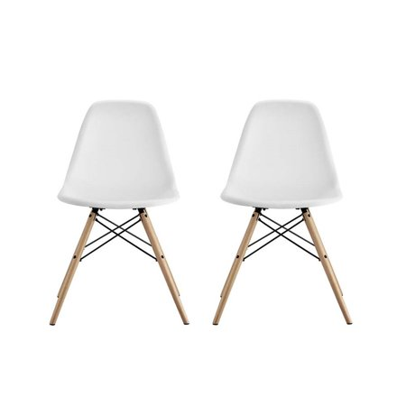 DHP Mid Century Modern Molded Chair with Wood Leg, Set of 2 (Emeco Modern Chair)