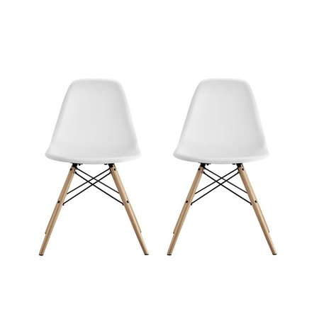 DHP Mid Century Modern Molded Chair with Wood Leg, Set of 2 ()