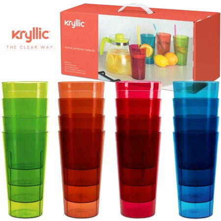 Plastic Cup Tumblers Drinkware Glasses - Break Resistant 20 oz. Kitchen Restaurant HIGH QUALITY set of 16 in 4 Assorted Colors - Best Gift Idea By - Glow In The Dark Drinking Glasses