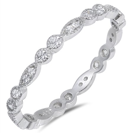 - Eternity Stackable Clear CZ Wedding Ring ( Sizes 4 5 6 7 8 9 10 11 12 ) New 925 Sterling Silver Band Rings by Sac Silver (Size 8)