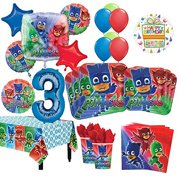 a3a6c55ebaa PJ Masks 3rd Birthday Party Supplies 16 Guest Kit and Balloon Bouquet  Decorations 96pc