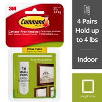 3M Command Small Picture Hanging Strips, 2 pairs hold 2 lbs, Decorate without Tools, Gallery Wall Pack, Hangs up to 8 frames (17205-16ES)