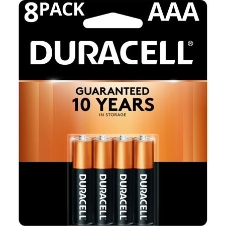 Duracell 1.5V Coppertop Alkaline AAA Batteries 8 Pack 1.5v Dc Silver Battery