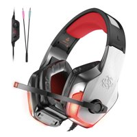 V4 Adjustable Computer Gaming Headset Stereo PC Gaming Headset with Lights for PS4, PS4 Pro/Slim, Xbox One, Xbox One S/X, PC