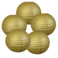 "Just Artifacts 14"" Lemon Yellow Paper Lanterns (Set of 5) - Decorative Round Paper Lanterns for Birthday Parties, Weddings, Baby Showers, and Life Celebrations"
