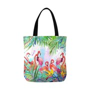 9005695d1 ASHLEIGH Tropical Exotic Flamingo Bird Leaves and Summer Flowers Canvas  Tote Bags Reusable Shopping Bags Grocery
