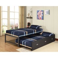 """Archer 39"""" Twin Size Black Metal Day Bed Frame With Drawer Roll-Out Trundle (Twin Daybed & Trundle)"""
