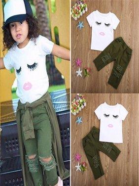 Baby Gift Toddler Kids Baby Girls Eyelash Tops T-shirt +Hole Hot Pants Outfits Set Clothes