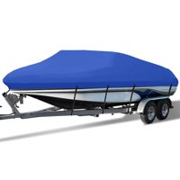 """Waterproof Boat Cover All Seasons Outdoor Protector Aluminium Film Composite Cotton Fits V-Hull Quick Release Buckle Strap (Blue, Fit 17'-19'L x 95"""" Beam Width)"""