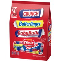 Ferrara Assorted Chocolate Miniatures, Crunch, Butterfinger & Baby Ruth, Candy 35.9 Oz, 90 Ct