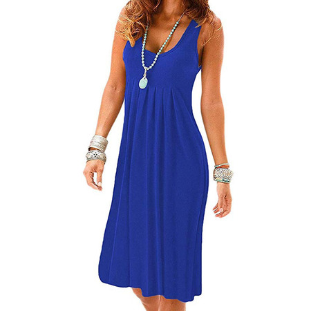 Women's Summer Casual Sleeveless Mini Plain Pleated Tank Vest Dresses T-Shirt - Banded V-neck Tank Dress