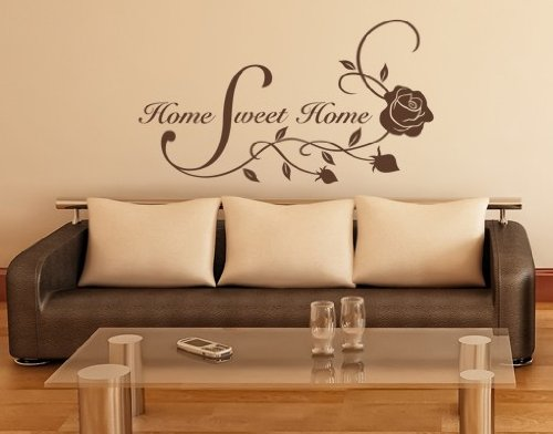 Home Sweet Home Floral Quote With Roses Wall Decal   Wall Sticker, Vinyl  Wall Art