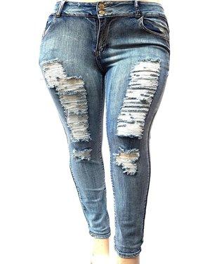 Womens Plus Size Acid Wash Distressed Ripped Blue Skinny Denim Jeans Pants