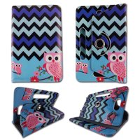 Owl Blackblue Chevron folio tablet Case for Acer Iconia Tab A100 7 inch android tablet cases 7 inch Slim fit standing protective rotating universal PU leather standing cover