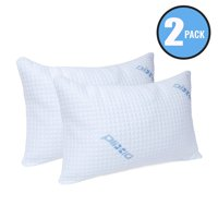2 Pack Plixio Shredded Memory Foam Pillow with Bamboo Hypoallergenic Cooling Cover - Queen Size Sleeping Pillows