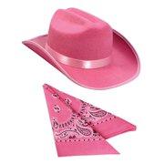 396c1af8e875d Kids Pink Cowboy Outlaw Felt Hat And Bandana Play Set Costume Accessory.  Price