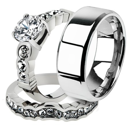His & Her 3pc Stainless Steel 2.35 Ct Cz Bridal Ring Set & Men Beveled Edge Band Women