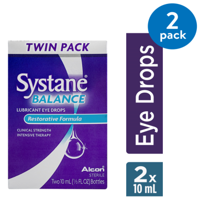 SYSTANE BALANCE Lubricating Eye Drops for Dry Eyes Symptoms, 2 x 10mL TWIN