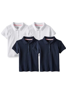 Girls School Uniform Short Sleeve Interlock Polo, 4-Pack Value Bundle