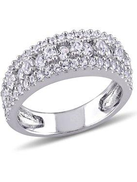 Miabella 1-1/7 Carat T.G.W. Created White Sapphire Sterling Silver Anniversary Ring