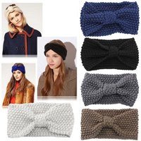 Heepo Women Fashion Niblet Crochet Bow Knitted Solid Color Hair Band Winter Headband