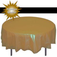 Exquisite 12 Pack Gold Plastic Tablecloth, 84 Inch Round