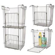 Glacier Bay (4 Pack) Stackable Baskets: Large Metal Basket, Bin Basket, Wire Basket Set, Basket Organizer For Storage In Pantry, Closet, Kitchen, Bathroom