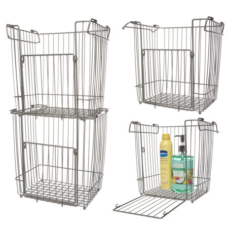 Glacier Bay (4 Pack) Stackable Baskets: Large Metal Basket, Bin Basket, Wire Basket Set, Basket Organizer For Storage In Pantry, Closet, Kitchen, Bathroom - Empty Baskets For Gifts