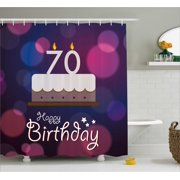 70th Birthday Decorations Shower Curtain Cartoon Style Party Cake Abstract Backdrop Image Fabric