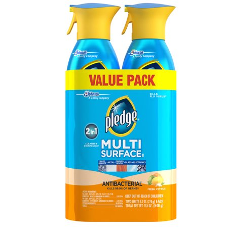 Pledge Antibacterial Multisurface Cleaner, Fresh Citrus, 2 ct, 9.7 oz