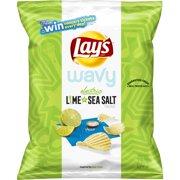 Lay's Wavy Electric Lime & Sea Salt Flavored Potato Chips, 2.75 oz Bag