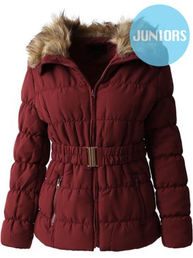 Girls' Fur Quilted Jacket with Belt Coat Outwear Parka