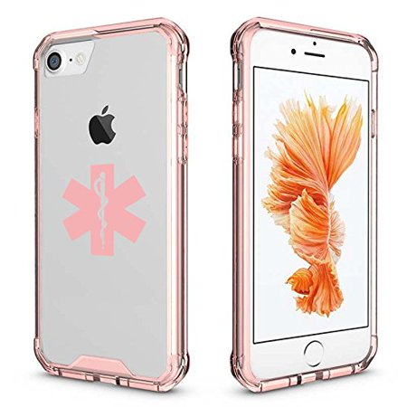 For Apple iPhone Clear Shockproof Bumper Case Hard Cover Star Of Life EMT Paramedic (Pink For iPhone 8)