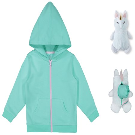 Packable Plush Critter Zip Up Hoodie (Toddler Girls)